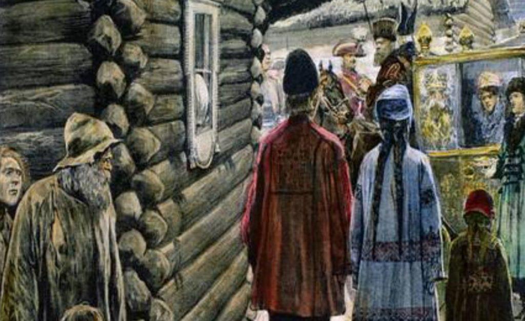 Przejazd przez wioskę potiomkinowską. Grafika z 1905 roku.