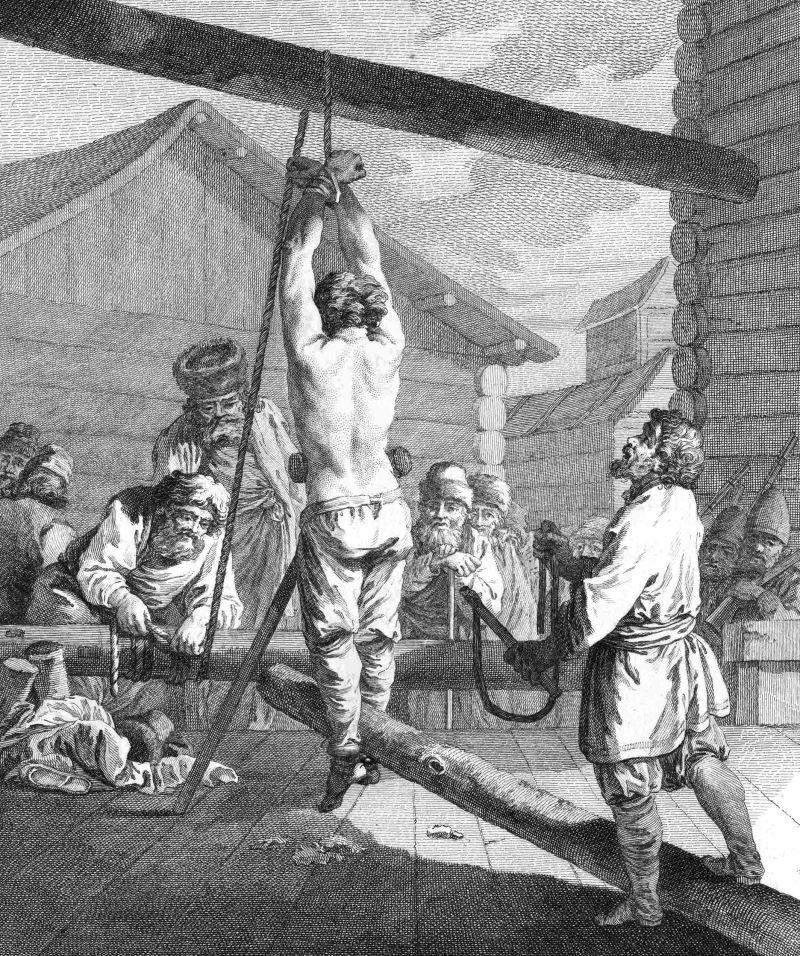 Rosyjski chłop karany knutem. Rycina XVIII-wieczna.