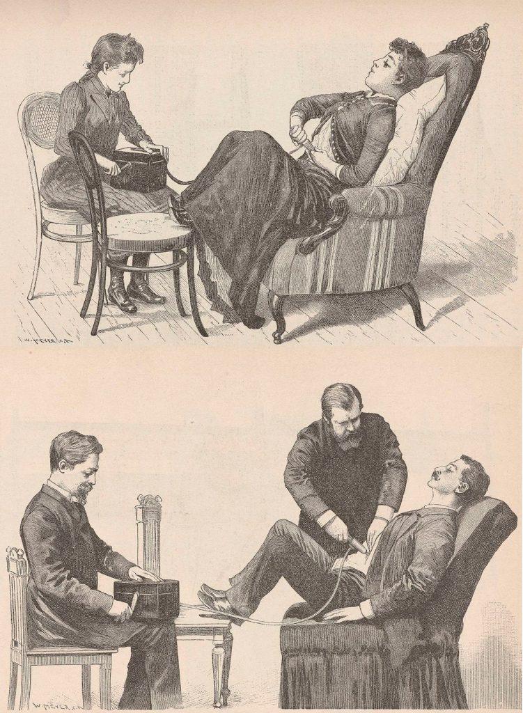 Rysunki z początku lat 90. XIX wieku pokazujące jak należy używać wibratora (domena publiczna).