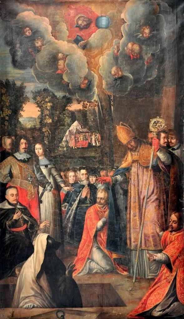 Święty Stanisław wskrzeszający Piotrowina. XVII-wieczny obraz z kościoła franciszkanów w Krośnie (domena publiczna).