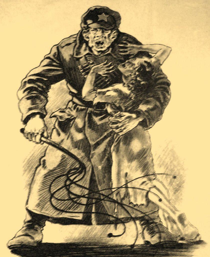 Szlak przemarszu Armii Czerwonej znaczyły rabunki, rabunki gwałty (domena publiczna).