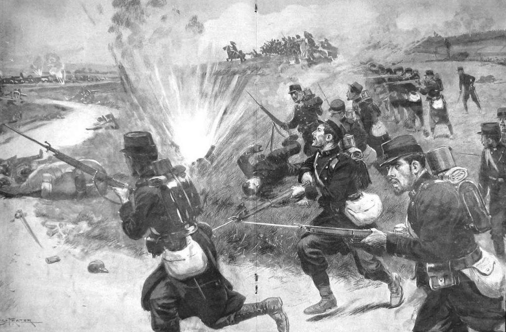 Szturm francuskiej piechoty podczas bitwy nad Marną. Rysunek z 1914 roku (domena publiczna).