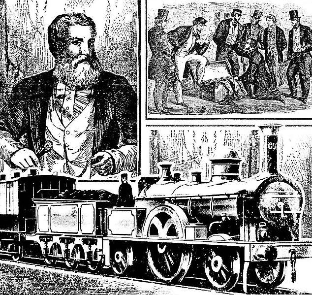 XIX-wieczny rysunek przedstawiający Thomasa Briggsa oraz miejsce znalezienia jego ciała (domena publiczna).